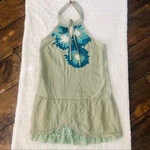 Lulumari Boho Halter Floral Embroidered Dress L